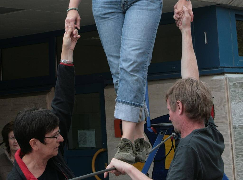 Trainerakademie Lehrer probieren Seiltanz