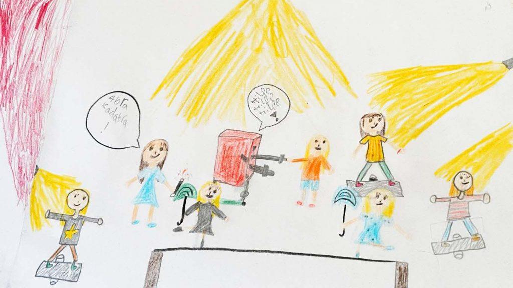 Kinder zeichnen sich in der Manege